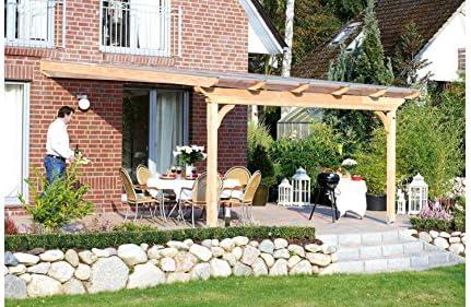 SKAN HOLZ Ravenna - Techo para terraza, incluye perfil de conexión de pared y soporte atornillable, 300 cm, color natural: Amazon.es: Jardín