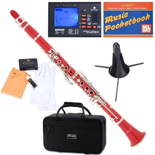 Mendini ABS B-Flat Clarinet, Red and Tuner, Case, Stand, Pocketbook - MCT-R+SD+PB+92D Mendini by Cecilio