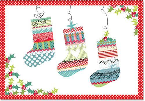 Patchwork Stockings Small Boxed Holiday Cards (Christmas Cards, Greeting Cards)