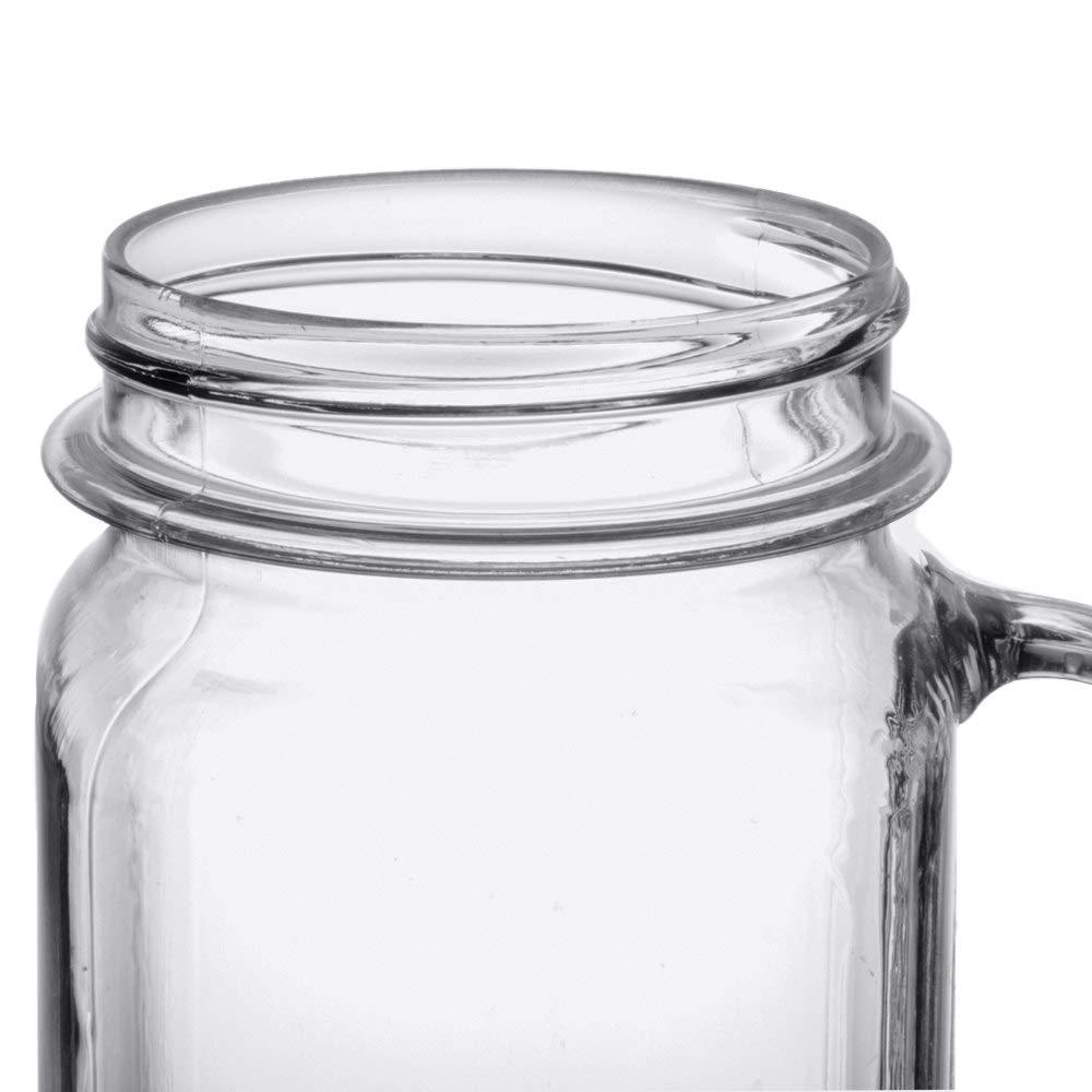 G.E.T. Enterprises MAS-3-CL 16 oz. Mason Jar with Handle, Plastic Clear (Pack of 12)
