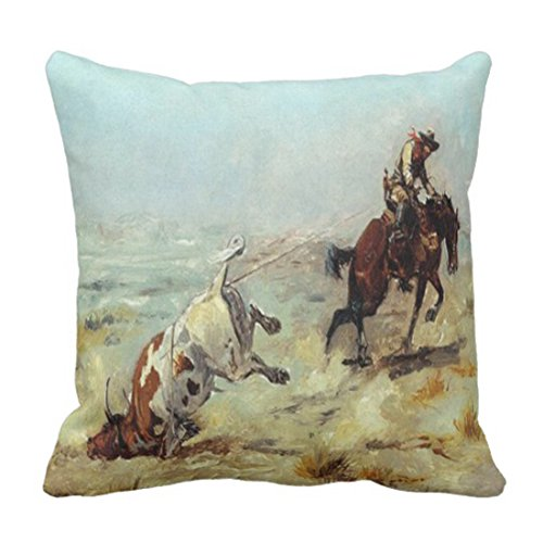 Emvency Throw Pillow Cover Cowgirl Vintage Western Cowboy Roping Steer Rodeo Decorative Pillow Case Home Decor Square 18x18 Inch Pillowcase (Couch Western Covers)