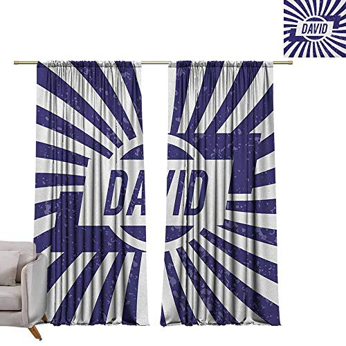 berrly Waterproof Window Curtain David,Boys Birthday Theme Retro Style Graphic Letters on Grungy Navy Color Stripes, Navy Blue and White W72 x L84 Window Curtain Drape