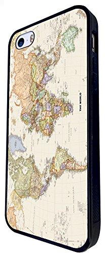 178 - World Map The World Design iphone SE - 2016 Coque Fashion Trend Case Coque Protection Cover plastique et métal - Noir