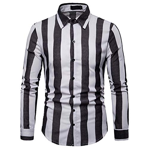 TOOPOOT 2019 Men's Shirt,Long Sleeve Casual Slim Fit Vertical Striped Button Down Dress ()