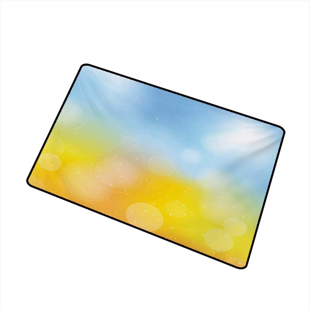 Pet Door mat Yellow and Blue Gradient Toned Autumn Season Frame in Pastel with Hazy Effects W30 xL39 Breathability by Axbkl