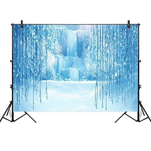 Allenjoy 7x5ft Winter Wonderland Backdrop for Blue Ice Christmas Elsa Theme Birthday Party Supplies Decor Snow Crystal Pendant Photo Pictures Studio Photography Background Princess Girl's Baby Shower]()