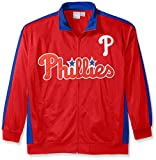 MLB Philadelphia Phillies Men's Tricot Poly Track Jacket, X-Large Tall, Red/Royal