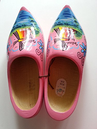 - One Pair Pink Holland Wood Shoes