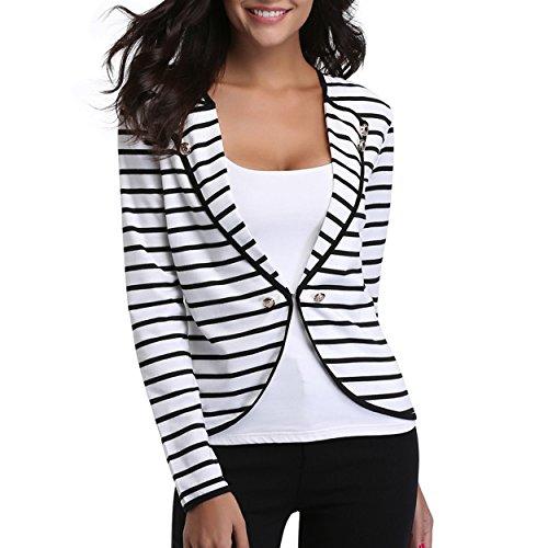 Women V Neck Autumn Long Sleeve Blue White Stripe Blouse Shirts Fashion Elegant Lady Tops Clothing Office Suit from dLRNyDmT