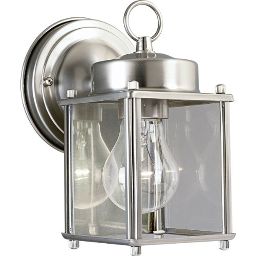 (Progress Lighting P5607-09 Wall Lantern with Clear Glass, Brushed Nickel)