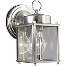 Progress Lighting P5607-09 Wall Lantern with Clear Glass, Brushed Nickel