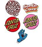 Skateboard Vinyl Sticker Santa Cruz Pack of 5 for Laptop,Water Bottle Car and Bikes