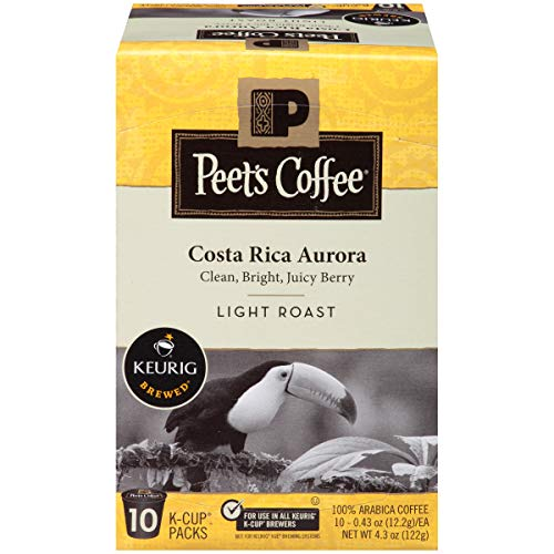 Costa Rica Light Roast - Peet's Coffee, Costa Rica Aurora, Light Roast, K-Cup Pack (60 ct), Single Cup Coffee Pods, Bright, Clean, & Smooth Blend of Costa Rican & Kenyan Coffees with Citrus Notes; for All Keurig K-Cup Brewers