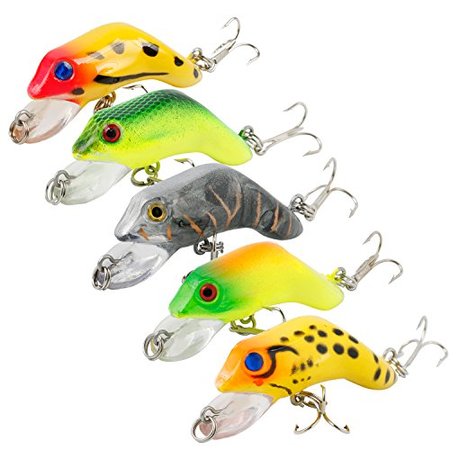 Burning Shark Frog Lure Topwater Fishing Lures with Plastic Tackle Box for Bass Trout Walleye Redfish Freshwater and Saltwater Fishing Baits,Pack of 5