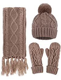 Women's Winter 3PC Cable Knit Beanie Hat Gloves&Scarf Set