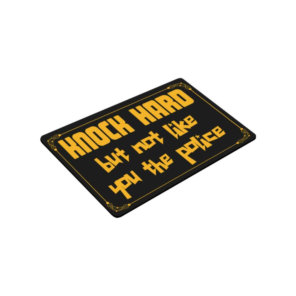 16 /× 24 wizardry1986 Knock Hard But Not Like You The Police Funny Rude Doormat Black Background Floor Mat with Non-Slip Backing Bath Mat Rug Excellent Home Decor