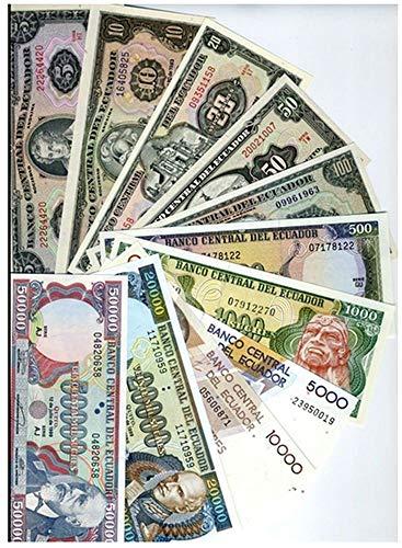 EC 1988 ECUADOR FLAWLESS 1988-99 COMPLETE DENOMINATION SET! 11 DIFF SCARCE BANKNOTES!! Gem Crisp Uncirculated