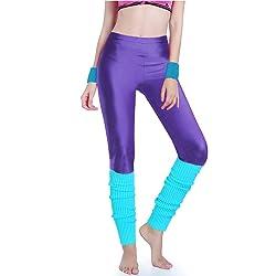 Kimberly's Knit Women 80s Party Neon Capri Running Workout Leggings Leg Warmers