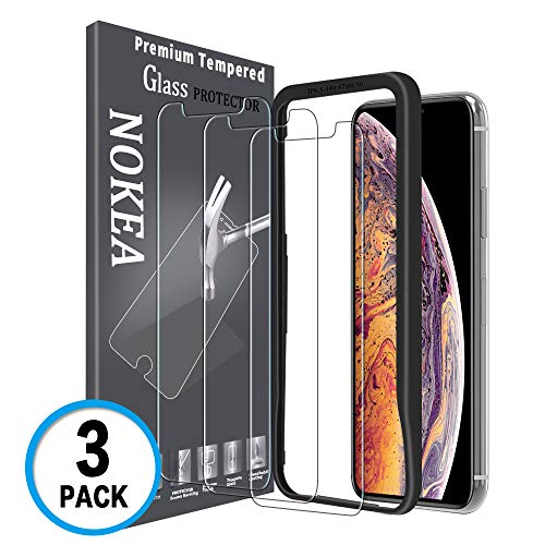 NOKEA iPhone Xs MAX(6.5 inch) Screen Protector, [[Installation Guidance Alignment Frame] 3D Touch Advanced Clarity Touch Accurate Case Friendly Tempered Glass Screen Protector