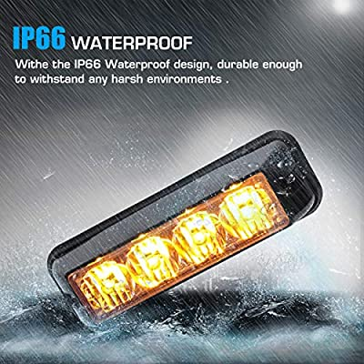 Linkitom 4 in 1 Surface Mount Grill Light Head, Sync Feature LED Car Truck Emergency Beacon Warning Hazard Flash Strobe Light with 16 Different Flashing,12/24V: Automotive