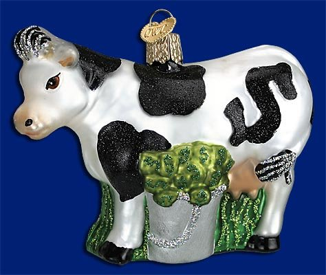 Old World Cash Cow Glass Blown - Cash Glasses Old For
