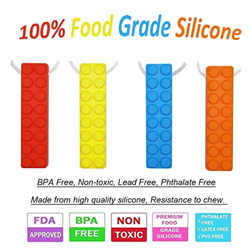 Sensory Chew Necklace Set, (8 Pack) Made from Food Grade Silicone Safety for Kids Teething, Silicone Chewy Sticks for Autistic, ADHD, Oral Motor Boys and Girls Children-Blue,Red,Yellow,Orange by MeBB Chic (Image #2)