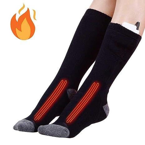 KOBWA Calcetines eléctricos calefactados para hombres y mujeres, tercer engranaje ajustable algodón calcetines largos cálidos