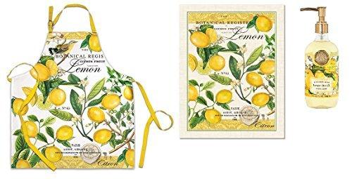 (Michel Design Works Lemon Basil 2 Piece Kitchen Set (Apron, Kitchen Towel) plus Dish Soap )