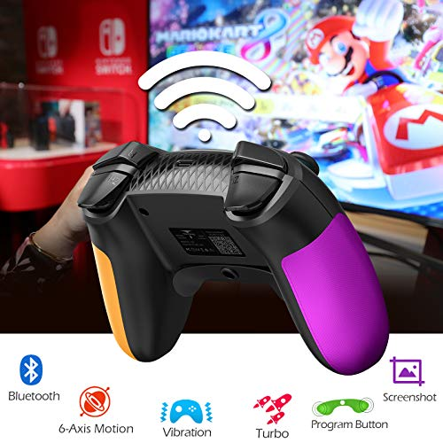 TERIOS Wireless Controller Compatible with Nintendo Switch,Nintendo Switch Lite – Gamepad with Button Programming Mode – Turbo and Vibration Function – Enhanced Precision and Control(Purple & Yellow)