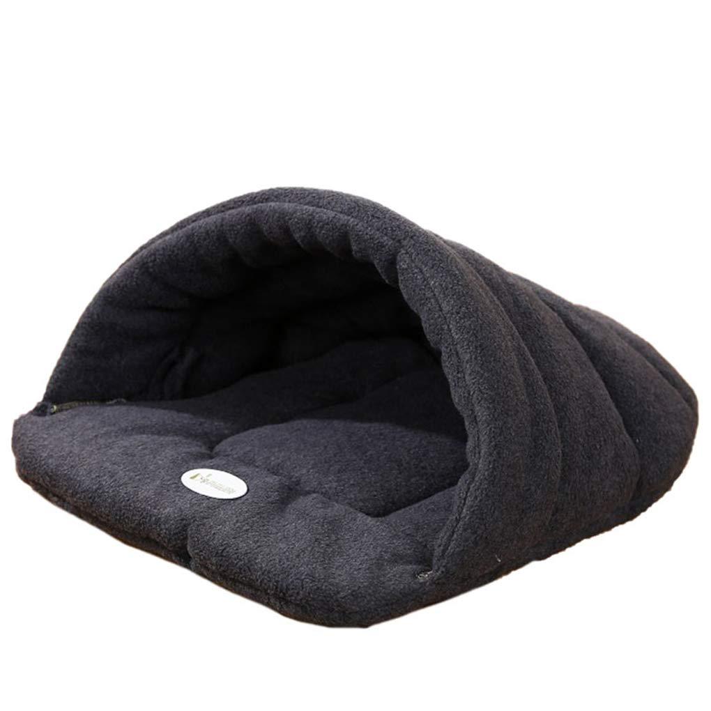 M Pet Cat Bed Small Dog Puppy Kennel Sofa Polar Fleece Material Bed Pet Mat Cat House Cat Sleeping Bag Warm Nest (M)