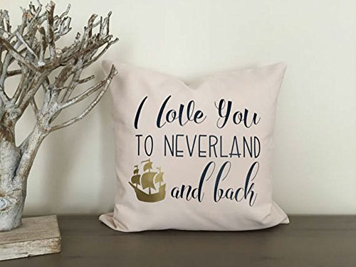 (Best quality Peter Pan Neverland pillow cover, I love you, pirate bedroom, nursery pillow cover, Kids Custom Sham, neverland lost boy)