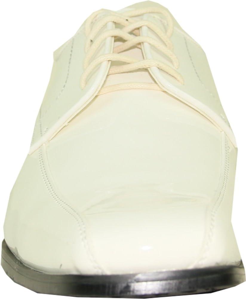 VANGELO Men Tuxedo Shoe TUX-5 Fashion Square Toe for Wedding Formal Event Ivory Patent 8W