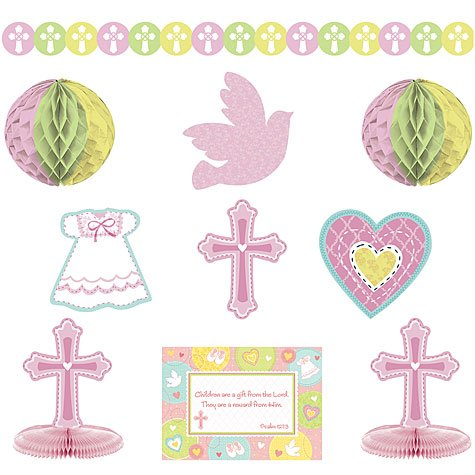 Amscan Sweet Christening Pink Paper Decorating Kit, 10 Ct. | Party Decoration