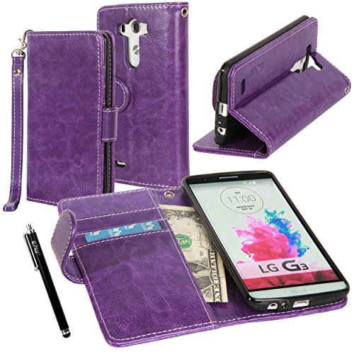LG G3 Case, LG G3 Flip Case - E LV LG G3 Deluxe PU Leather Folio Wallet Full Body Protection Case Cover for LG G3 with 1 Stylus - Purple