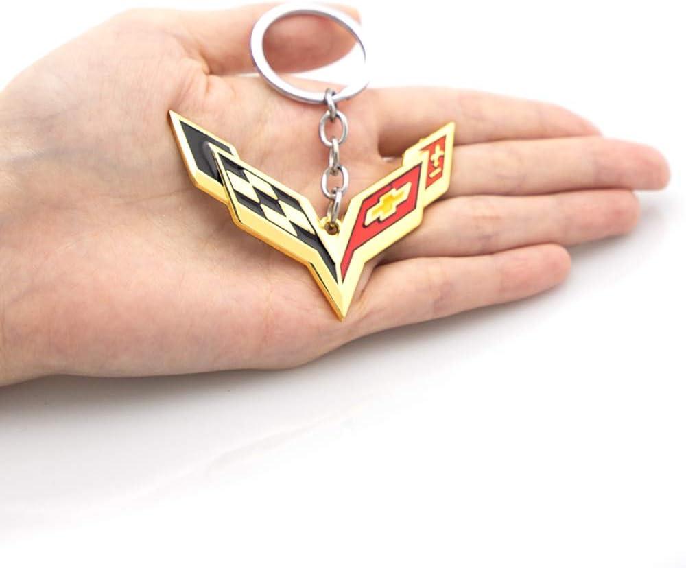 Gold KKY Best 3D Corvette Cross Flags Emblem Keychain Car Key Ring for Chevrolet Key Chain