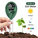 Soil pH Meter, 3 in 1 Soil Test Kit for Moisture, Light & pH/Acidity, Gardening Tools for Home and Garden, Lawn, Farm, Plants, Indoor & Outdoor Plant Care Soil Tester (No Battery Needed)