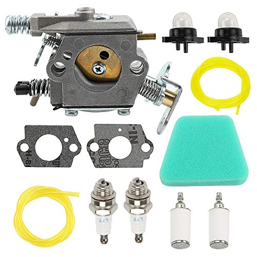 Allong Carburetor Air Filter Carb Fuel Line Spark Plug Carb for Poulan Chainsaw 1950 2050 2150 2375 Wild Thing 2375LE Walbro WT 89 891 WT-324 Zama C1U-W8 C1U-W14 Replace# 545081885 (Poulan Chainsaw 2150)
