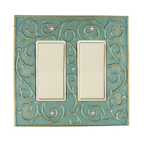 Meriville French Scroll 2 Rocker Wallplate, Double Switch Electrical Cover Plate, Buckingham Green with Gold