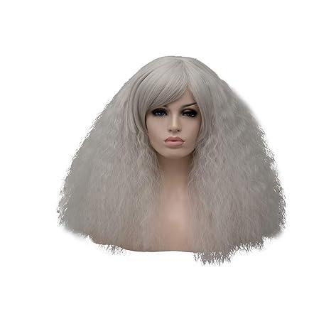 Lurrose Pelucas mullidas largas de color gris plateado para mujeres pelucas rizadas sintéticas con casquillo de