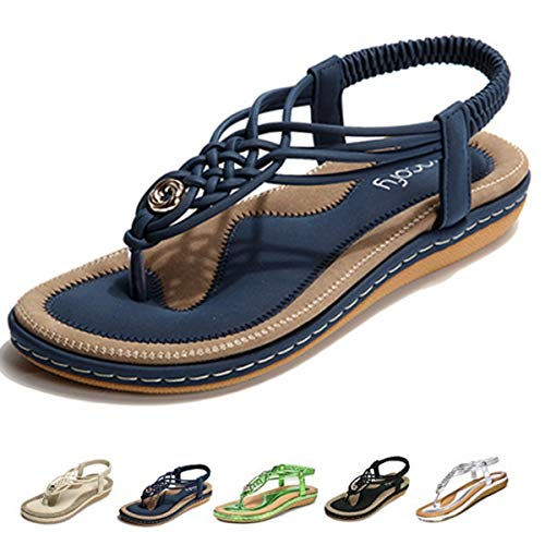 gracosy Summer Sandals for Women, Flat Sandals Flip Flops Thongs Clip Toe Slip On Elastic T-Strap Bohemia Beach Slippers Navy 6 M US