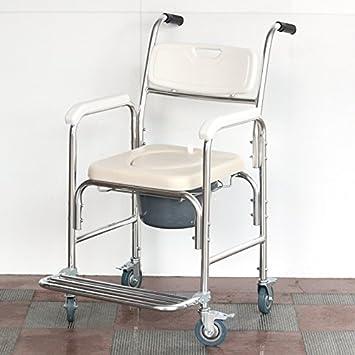 jiaminmin Cabecera Comoda sentada Rueda retretes para Las Ancianos Silla móvil Aluminio aleación Embarazadas Sentado para sillas de Ruedas Silla de baño en ...