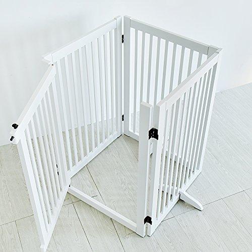 WELLAND Freestanding Wood Pet Gate w/ Walk Through Door, 88-Inch, White by WELLAND (Image #4)