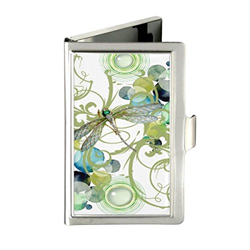 Udoosun Cute Dragonfly Floral Flowers Custom Business Bank Name Card Case Holder Box Pocket Credit Card ID Wallet -