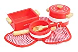 Indigo Jamm Pots'n' Pans Wooden Toy Red Play Set - Designed For Children Aged 3 Years Plus