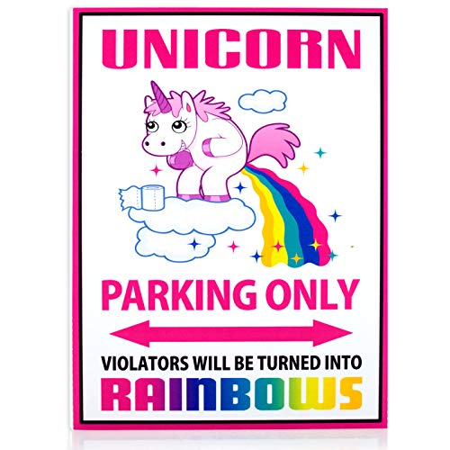 Parking No Signs Personalized (Funny Unicorn Poop Parking Only Sign | Unicorn Pooping Rainbows is 8 x 12 inches | Violators Will Be Turned Into Rainbows | Party Supply Wall Sign Gifts for Girls | No Parking Sign)
