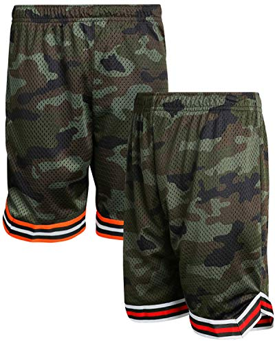 (Mad Game Boys Athletic Mesh Basketball Shorts (2 Pack), Red Camo/Orange Camo, Size 8/10')