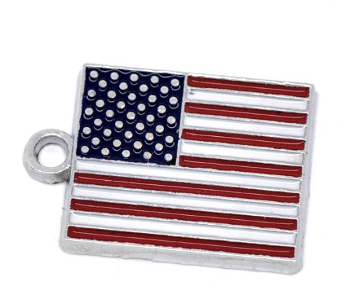 PEPPERLONELY 10pc Antiqued Multicolor Alloy Enamel US Flag Charms Pendants 22x15mm (7/8