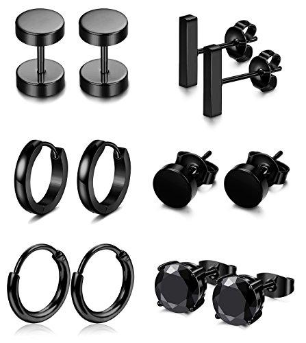 FIBO STEEL 6 Pairs Stainless Steel Black Stud Earrings for Men Women Huggie Hoop Earring Ear Piercing Set