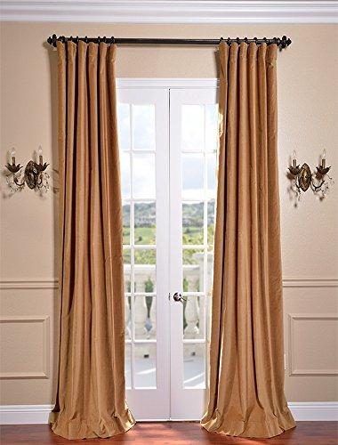 Half Price Drapes Old Gold Vintage Cotton Velvet Curtains 50 X 120