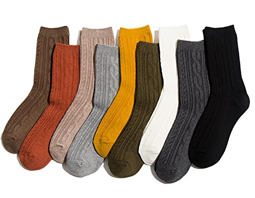 (Lian LifeStyle Women's 6 Pairs Combed Cotton Crew Socks Casual Striped Size 6-9 HR1756-6P6C-01 Assorted)